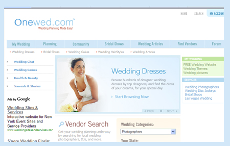 onewed.com top 9 wedding sites